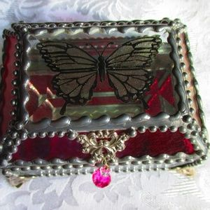 Faberge Style Hand Carved & Painted Glass Box
